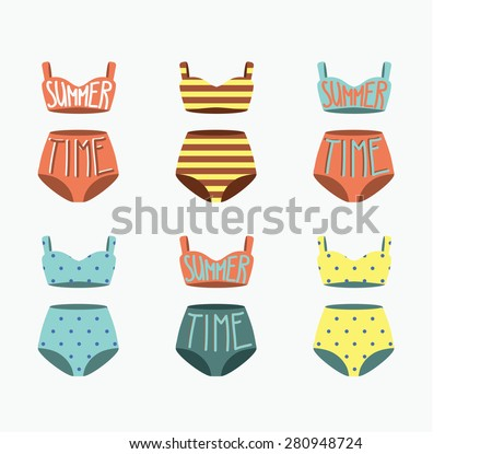 Swimsuit set. Vintage vector illustration. Summer time - stock vector