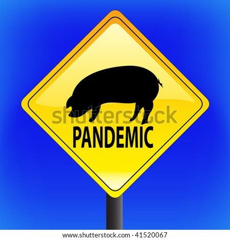 Swine flu with ping icon, ah1n1, h1n1, warning sign with blue sky in background - vector file - part 2 - pandemic - stock vector