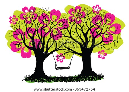 Swing between spring blossoming trees vector illustration. Black trees and ground silhouettes, hand drawn, and huge pink flowers in crown. Abstract old trees with swing in ink painting style. EPS 10. - stock vector