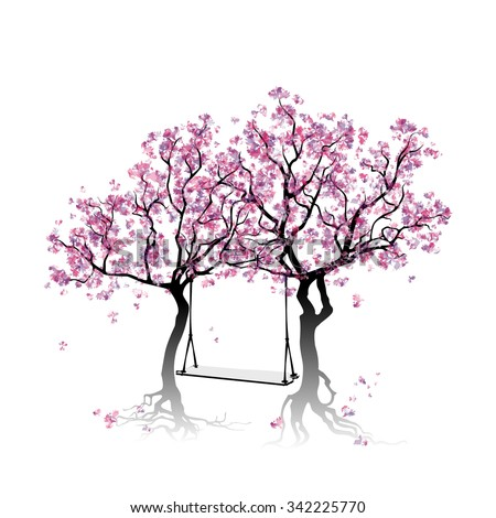 Swing between the trees. Colorful abstract trees. Springtime. Blossoming trees. Watercolor imitation. Vector, EPS 10 - stock vector
