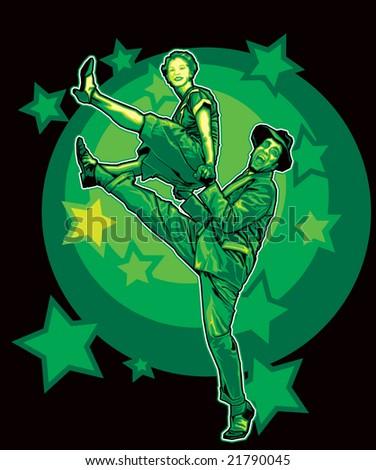 Swing Dancers - stock vector