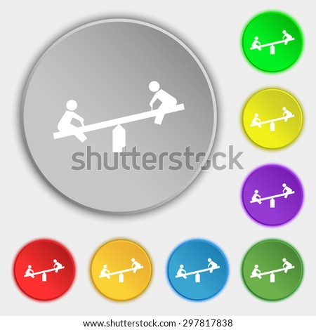 swing icon sign. Symbol on five flat buttons. Vector illustration - stock vector