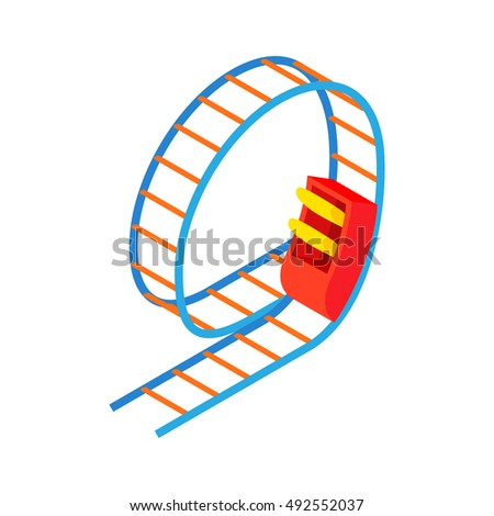 Swing roller coaster icon in cartoon style isolated on white background. Entertainment symbol vector illustration