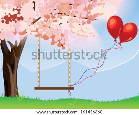 Swing with pair of red balloons under the tree - stock vector