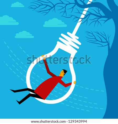 swinging a businessman - stock vector