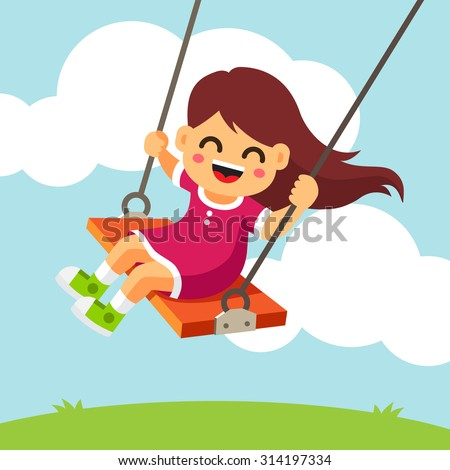 Swinging kid. Happy smiling girl with flying in the wind hair on a swing. Vector flat style isolated cartoon illustration. - stock vector