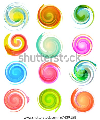 Swirl business icon design set