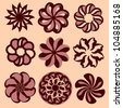 Swirl candy flowers icon vector set - stock vector