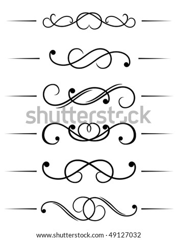Swirl elements and monograms for design and decorate. Jpeg version is also available
