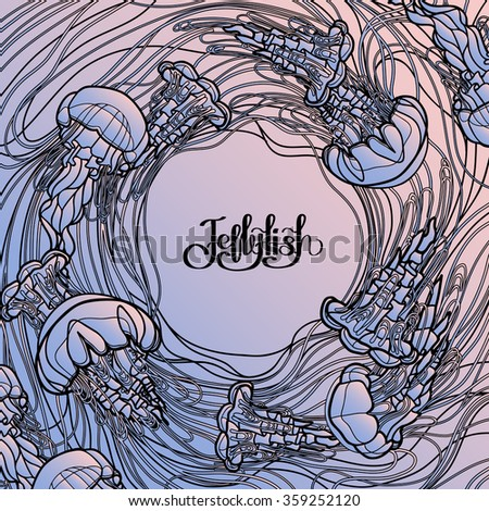 Swirl of jellyfish drawn in line art style. Ocean card in quartz and serenity colors - stock vector
