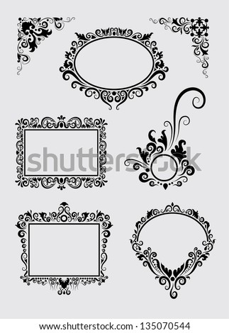 Swirl Ornament 1. Floral ornaments in black, labels and corners. Easy to use, edit or change color, each item is a group. - stock vector