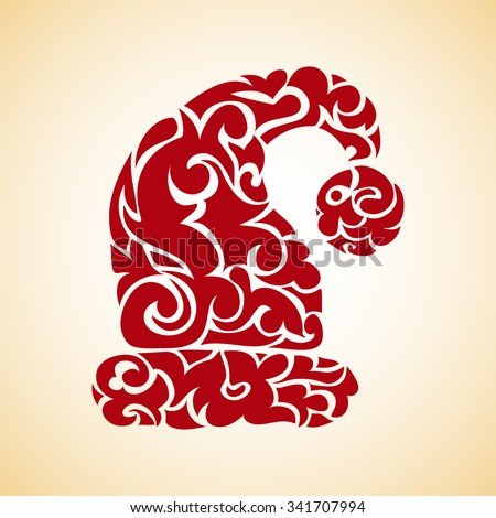 swirl ornate collection -  decorative santa hat - stock vector