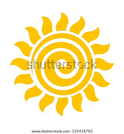 Swirl sun icon illustration
