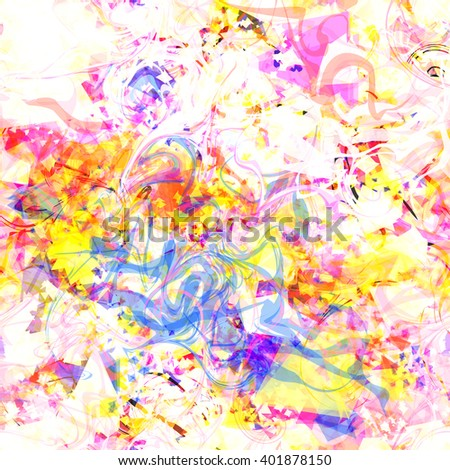 Swirled into a spiral wavy lines. Spots of triangular elements. Randomly mixed. Bright abstract pattern. Easy editable. For design of wallpaper, fabric, wrapping paper, printing, book covers, flyers - stock vector