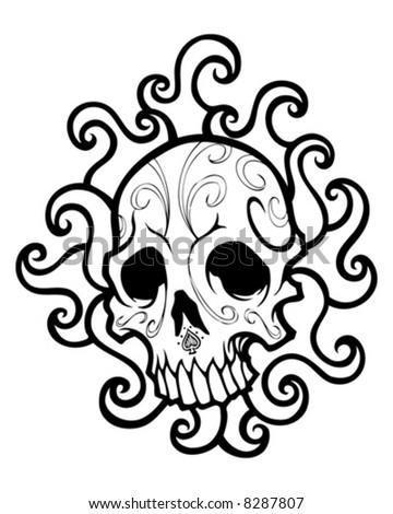 swirled skull vector - stock vector