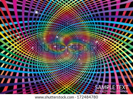 Swirled space  in rainbow colors - Rainbow colored roundabout illustration