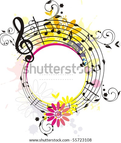 Swirling colored  melody frame, the place for your text and photo, each element has own layer - stock vector