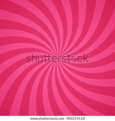 Swirling radial pattern background. Vector illustration for cute pretty circus design. Vortex starburst spiral twirl square. Helix rotation rays. Converging pink scalable stripes. Fun sun light beams. - stock vector