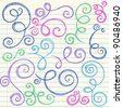 Swirls and Curls Hand-Drawn Sketchy Notebook Doodles Ornamental Flourish Set- Vector Illustration Design Elements on Lined Sketchbook Paper Background - stock vector