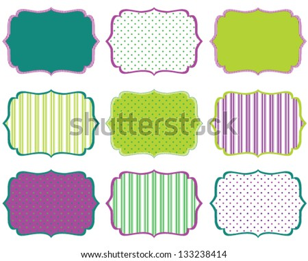 Swirly Frames Blues And Greens - stock vector