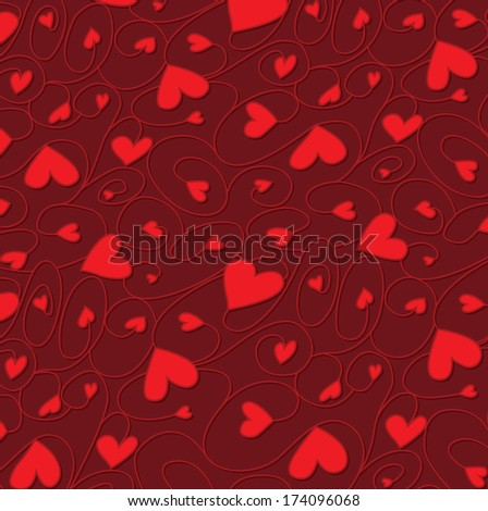 Swirly hand drawn heart pattern in vector format. - stock vector