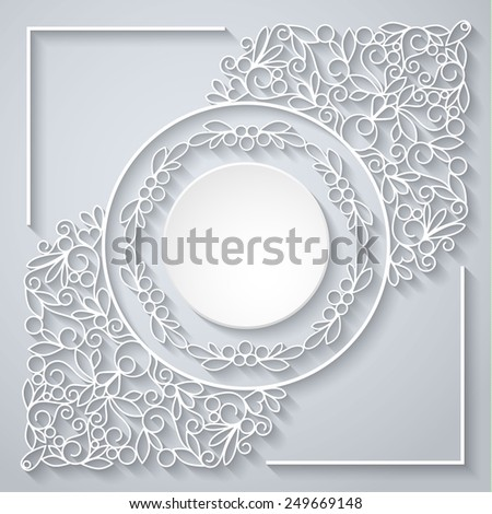 Swirly paper decor with long shadow on white, vector illustration - stock vector