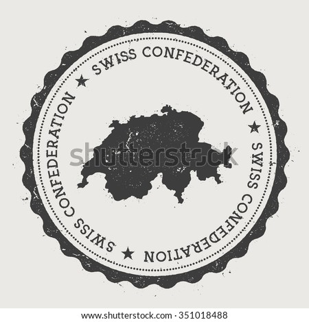 Swiss Confederation Hipster Round Rubber Stamp With Switzerland Map Vintage Passport Stamp With Circular