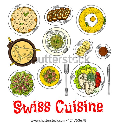 Swiss cuisine with croutons, potato rosti topped with egg and risotto with cheese, steamed fish steaks and vegetable salad, green pea shrimps chowder, coffee with chocolate swiss rolls and apple tart - stock vector