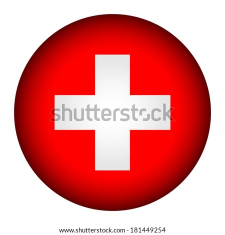 Swiss flag button on a white background. Vector illustration. - stock vector