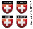 Swiss flag emblem - stock vector