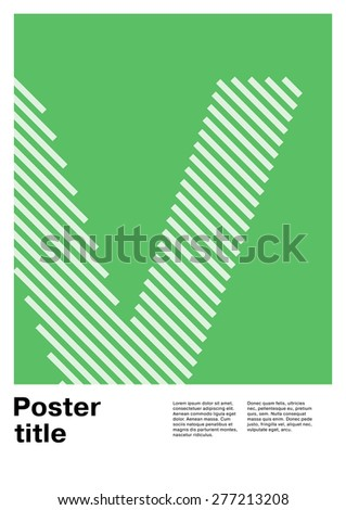 Swiss poster layout with letter V - stock vector