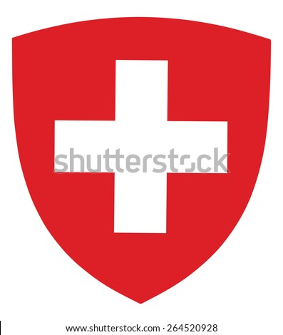 Switzerland coat of arms, seal, national emblem, isolated on white background. Vector Coat of arms of Swiss, Original and simple Switzerland coat of arms in official colors and Proportion Correctly.   - stock vector