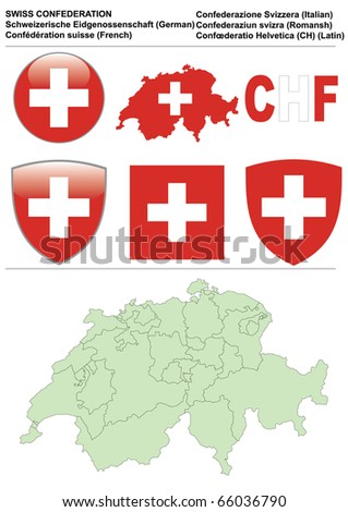 Switzerland collection including flag, map (administrative division), symbol, currency unit & glossy button - stock vector