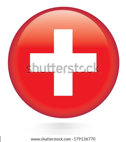 Switzerland flag button - stock vector