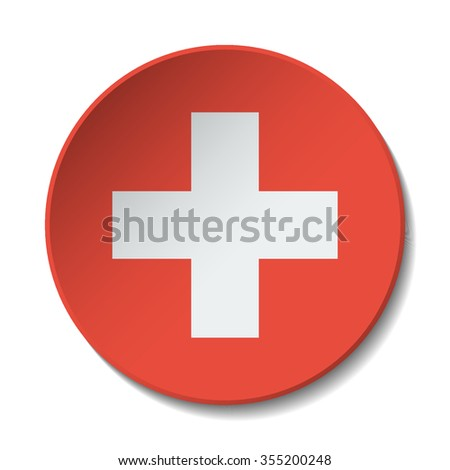 Switzerland Flag Button. Vector icon flag of Switzerland on white background. Paper cut style country flag.