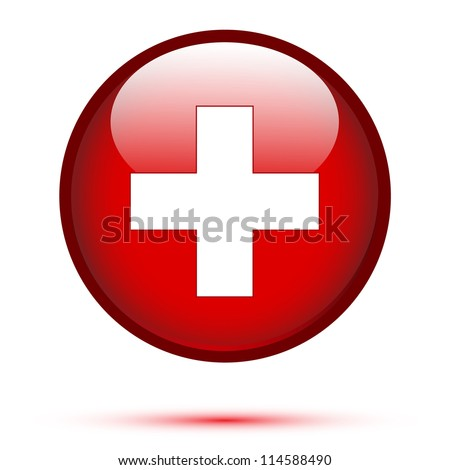 Switzerland flag on button isolated on white - stock vector