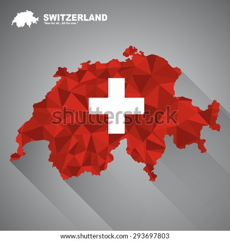 Switzerland flag overlay on Switzerland map with polygonal and long tail shadow style (EPS10 art vector)
