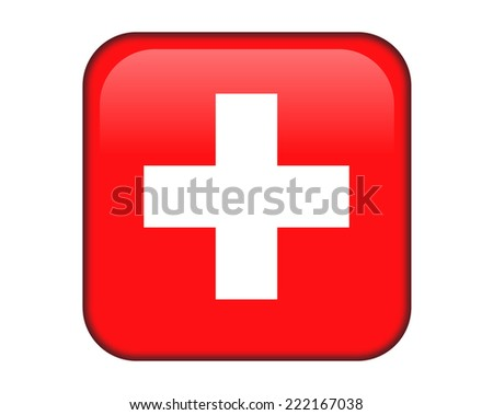 Switzerland glossy rectangle button