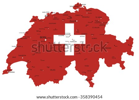 Switzerland highly detailed political map with national flag isolated on white background.