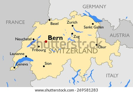 Switzerland Map Stock Vector 2018 269581283 Shutterstock