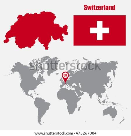 Switzerland Map On World Map Flag Stock Vector 749863123