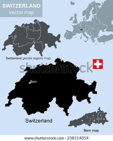 Switzerland map, Switzerland greater regions  and Bern vector map - stock vector