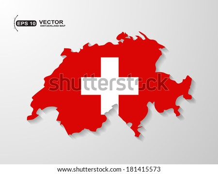 Switzerland map with shadow effect