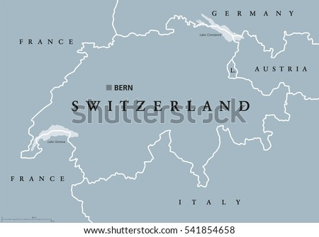Switzerland Political Map With Capital Bern National Borders And Neighbor Countries Swiss Confederation
