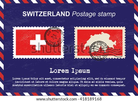 Switzerland postage stamp, postage stamp, vintage stamp, air mail envelope. - stock vector
