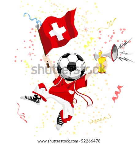 Switzerland Soccer Fan with Ball Head. Editable Vector Illustration - stock vector