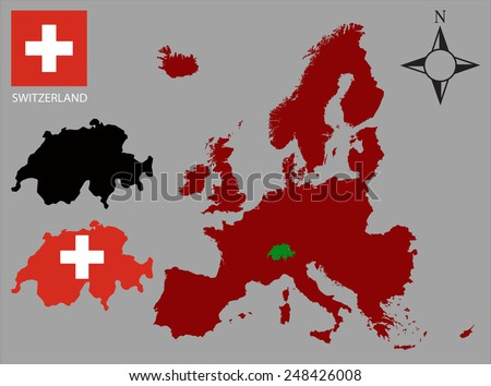 Switzerland - Two contours, Map of Europe and flag vector - stock vector