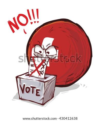 Switzerland voting no - stock vector