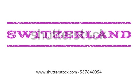 Switzerland watermark stamp. Text caption between horizontal parallel lines with grunge design style. Rubber seal stamp with scratched texture. Vector violet color ink imprint on a white background.