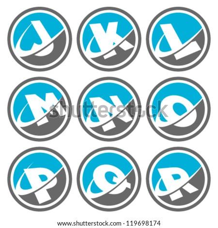 Swoosh Alphabet Logo Icons Set 2 - stock vector